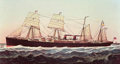 Greyhound Painting - Guion Line Steampship Arizona Of The Greyhound Fleet by Currier and Ives
