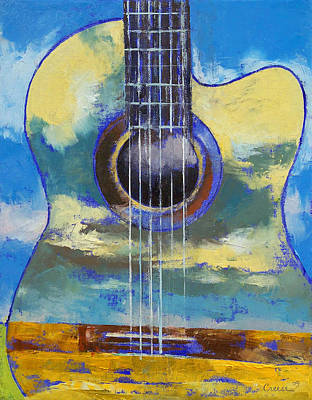 Gitarre Painting - Guitar And Clouds by Michael Creese