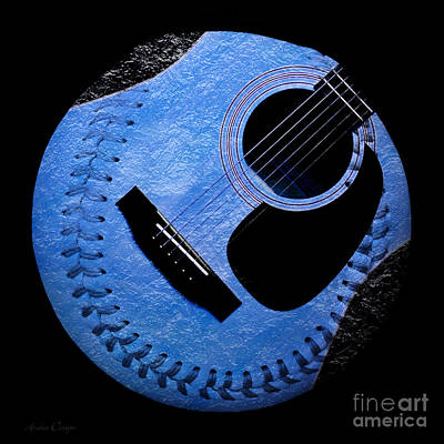 Guitar Blueberry Baseball Square Print by Andee Design