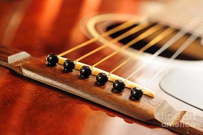Musical Photograph - Guitar Bridge by Elena Elisseeva