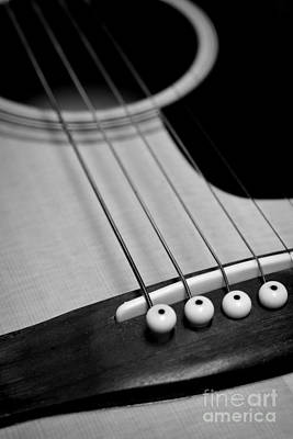 Guitar Bridge In Black And White Print by Paul Ward