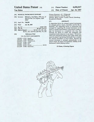 Van Halen Drawing - Guitar Device Patent Drawing On A Blue Background by Steve Kearns