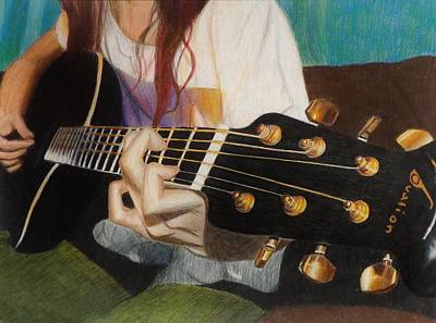 Red Drawing - Guitar Drawing by Savanna Paine