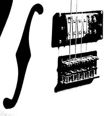 Guitar Graphic In Black And White  Print by Chris Berry