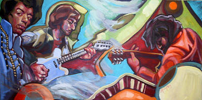 Jimmy Hendrix Painting - Guitar Heroes by Andrea Ramsey
