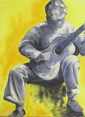 Susan L Richardson Art Painting - Guitar Man In Shades Of Grey by Susan Richardson