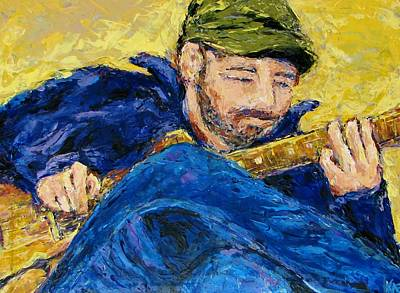 With Guitar Painting - Guitar Morning by Kat Griffin