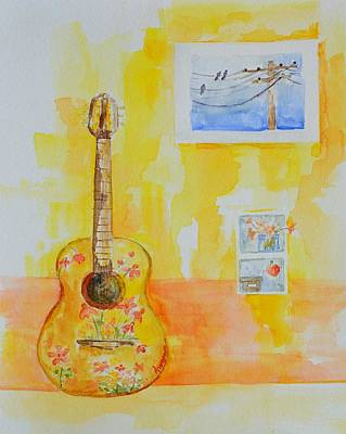 Bird On A Wire Drawing - Guitar Of A Flower Girl In Love by Patricia Awapara