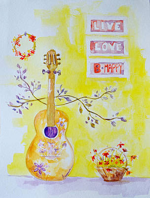 Lilacs Drawing - Guitar Of A Flower Girl Live Love Be Happy by Patricia Awapara
