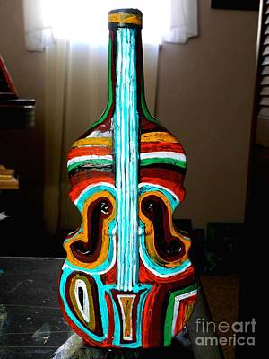 Hand Painted Glasses Painting - Guitar Vase by Genevieve Esson