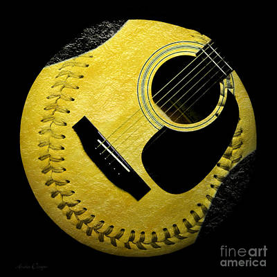 Guitar Yellow Baseball Square Print by Andee Design