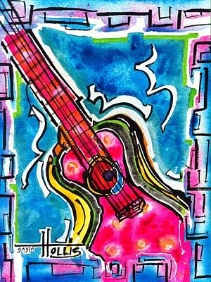 Painting - Guitare Rose Chaud by Gayla Abel Hollis