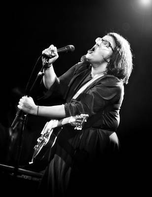 Guitarist Brittany Howard In Black And White - Alabama Shakes Live In Concert Print by Jennifer Rondinelli Reilly