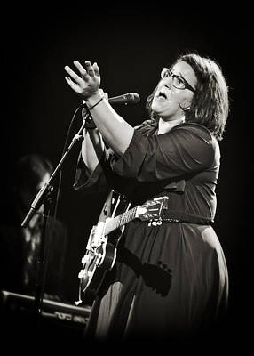 Guitarist Brittany Howard In Black And White 2 - Alabama Shakes Live In Concert Print by  Jennifer Rondinelli Reilly