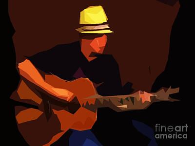Drawing Digital Art - Guitarist by Soumya Bouchachi