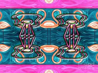 Flamingo Mixed Media - Guitars And Flamingoes by Patrick J Murphy