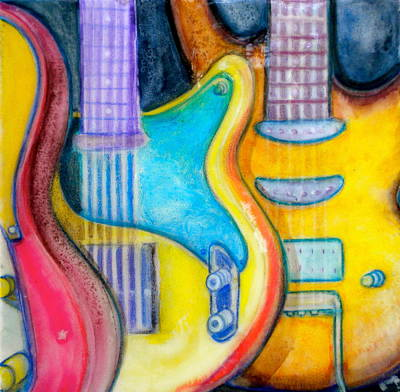 Detail Mixed Media - Guitars by Debi Starr