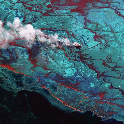 Inflatable Photograph - Gulf Of Mexico Oil Spill by Digital Globe
