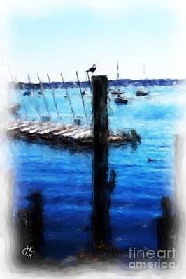 Pylon Painting - Gull On A Pylon 1001 20140917 by Julie Knapp