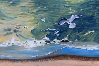 Gulls Feast In Bayfield Original by Kevin Doty