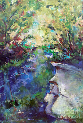 Babbling Brook Painting - Gully Park by Karen Ahuja