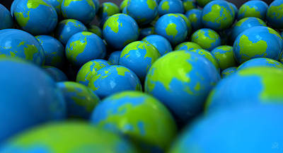 Collective Digital Art - Gum Ball Earth Globes by Allan Swart