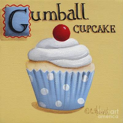Gumball Cupcake Print by Catherine Holman