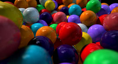 Gumballs Up Close And Personal Print by Allan Swart