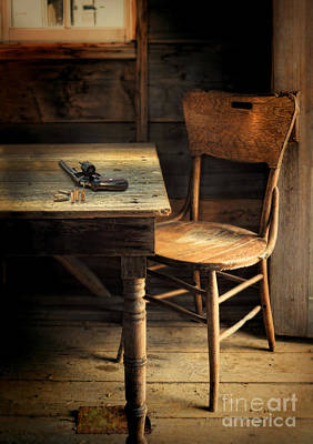 Empty Chairs Photograph - Gun On Table by Jill Battaglia