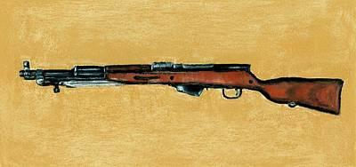 Pastels Painting - Gun - Rifle - Sks by Anastasiya Malakhova