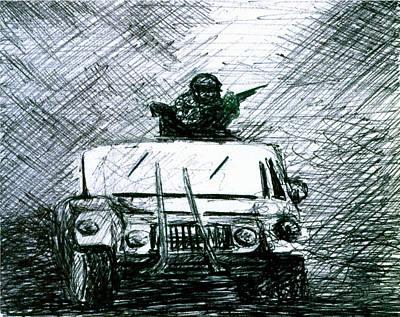 Iraq Drawing - Gunner by Kd Neeley