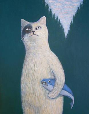 Cat And Moon Painting - Gunter And His Pet Fish Klaus by Kazumi Whitemoon