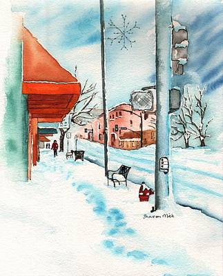 Dogs In Snow Painting - Gurley Street Prescott Arizona On A Cold Winters Day Western Town by Sharon Mick