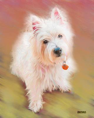 Westie Digital Art - Gus No. 3 by Alan Sherlock