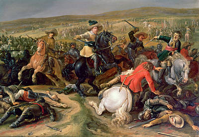 Horseback Painting - Gustavus II Adolphus, King Of Sweden 1595-1632 Leading A Cavalry Charge At The Battle Of Lutzen by Anonymous