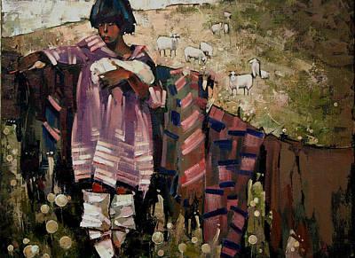 Sheep Painting - Gutsulochka by Anastasija Kraineva