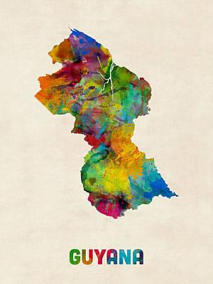 Latin America Digital Art - Guyana Watercolor Map by Michael Tompsett