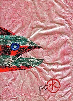 Gyotaku- 4th July - Spanish Mackerel- Bubble Gum Pink Print by Jeffrey Canha