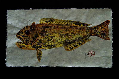 Gyotaku - Golden Tilefish - Clown Of The Seas - Blanquillo Original by Jeffrey Canha