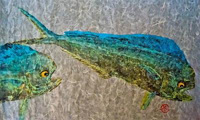Gyotaku - Mahi Mahi - Dorado - Dolphinfish Print by Jeffrey Canha