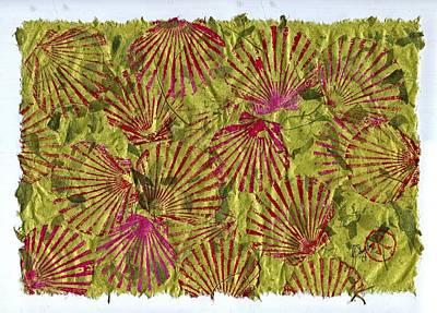 Gyotaku Scallops - Christmas Bushel - Holiday Shellfish Original by Jeffrey Canha