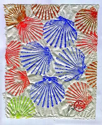 Gyotaku Scallops - Summertime Fun - Shellfish Original by Jeffrey Canha