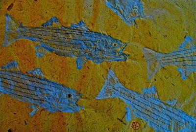 Gyotaku - Striped Bass - Rockfish - Linesider Print by Jeffrey Canha