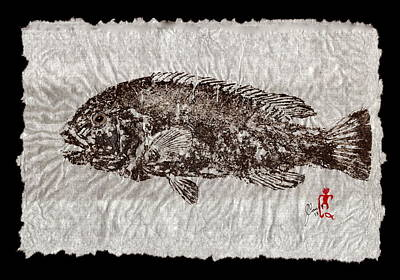 Gyotaku Tautog On Rice Paper W Black Border Original by Jeffrey Canha