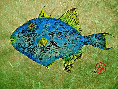 Gyotaku - Triggerfish - Queen Triggerfish Original by Jeffrey Canha