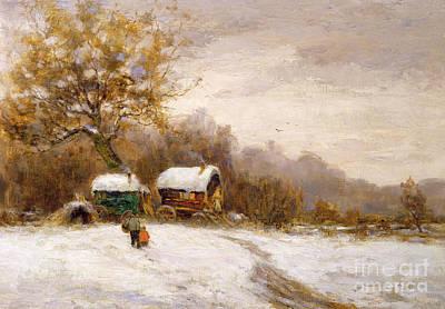 Gypsy Caravans In The Snow Print by Leila K Williamson