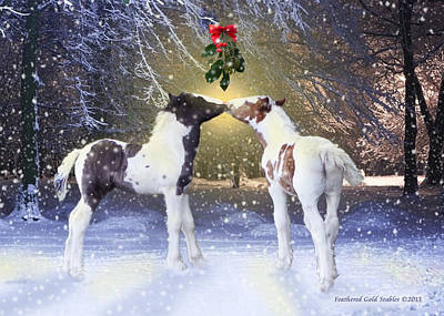Christmas Cards Digital Art - Gypsy Foals And Mistletoe by Feathered Gold Stables