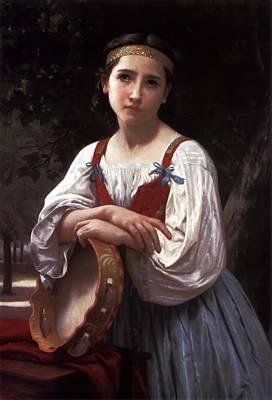 Gypsy Digital Art - Gypsy Girl With A Basque Drum by William Bouguereau