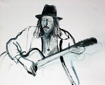 Monotone Painting - Gypsy Guitarist by Asha Carolyn Young