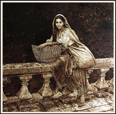 Pirogravura Pyrography - Gypsy Queen by Dino Muradian